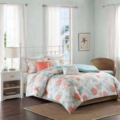 coral-bedding-11 Beach Bedroom Decor & Coastal Bedroom Decor