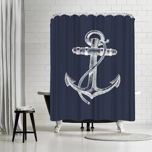 AdamsAleNavyAnchorSingleShowerCurtain Best Anchor Shower Curtains