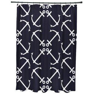 HancockAnchor27sUpGeometricPrintSingleShowerCurtain Best Anchor Shower Curtains