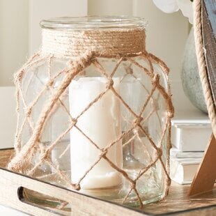 JuteGlassLantern 100 Beach House Decor Ideas