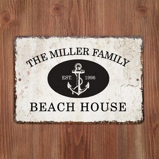 PersonalizedDistressedVintage-LookBeachHouseMetalSignWallDE9cor 100 Beach House Decor Ideas