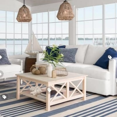 coastal-living-room-10 100 Beach House Decor Ideas
