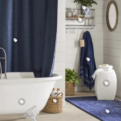 navy-nautical-bathroom-10 100 Beach House Decor Ideas