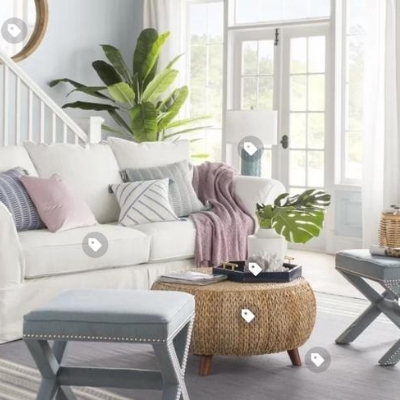 ocean-themed-living-room-19 100 Beach House Decor Ideas