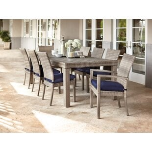 Castelli9PieceDiningSetwithCushions Wicker Dining Tables & Wicker Patio Dining Sets