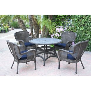 Damarion5PieceDiningSetwithCushions Wicker Dining Tables & Wicker Patio Dining Sets