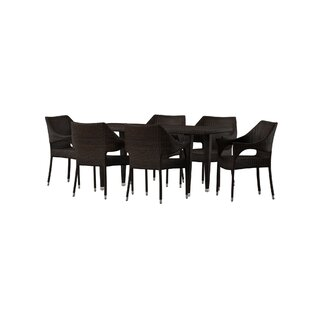 Nevius7PieceDiningSet Wicker Dining Tables & Wicker Patio Dining Sets