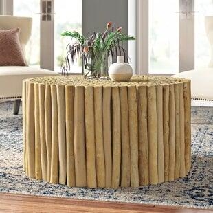 SolidWoodDrumCoffeeTable Beach Coffee Tables & Coastal Coffee Tables