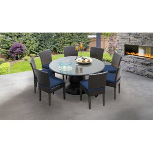 Tegan9PieceDiningSetwithCushions Wicker Dining Tables & Wicker Patio Dining Sets