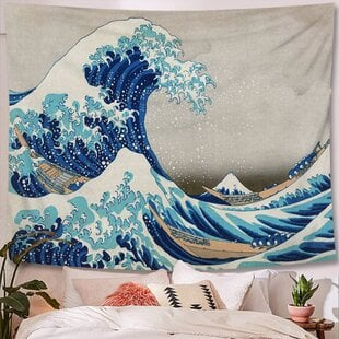 GreatWaveKanagawaPolyesterTapestrywithHangingAccessoriesIncluded 6 Best Types of Wall Hanging Tapestries