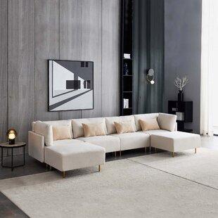 EverlyQuinnLinenSectionalSofaU-Shape-Beige Beach & Coastal Living Room Furniture